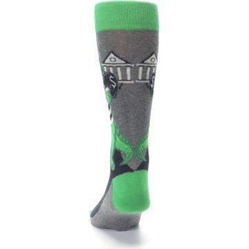 Image of Green Gray Crook-o-dile Bank Robber Men's Dress Socks (back-17)