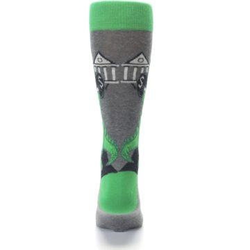 Image of Green Gray Crook-o-dile Bank Robber Men's Dress Socks (back-18)