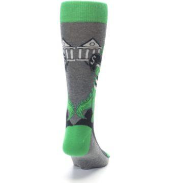 Image of Green Gray Crook-o-dile Bank Robber Men's Dress Socks (back-19)