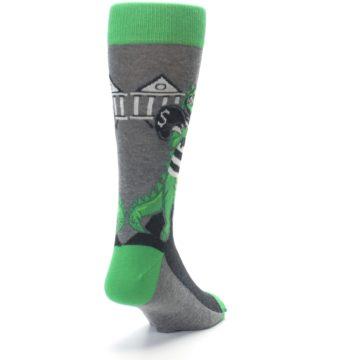 Image of Green Gray Crook-o-dile Bank Robber Men's Dress Socks (side-1-back-20)