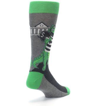 Image of Green Gray Crook-o-dile Bank Robber Men's Dress Socks (side-1-back-21)