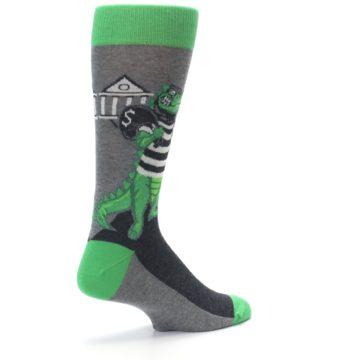 Image of Green Gray Crook-o-dile Bank Robber Men's Dress Socks (side-1-back-22)