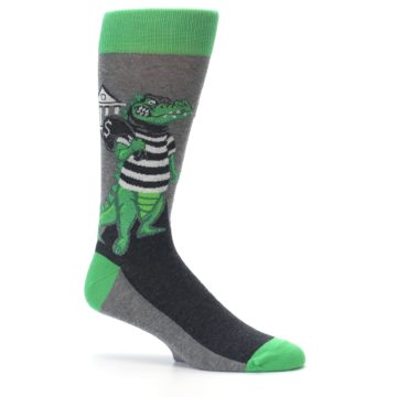 Image of Green Gray Crook-o-dile Bank Robber Men's Dress Socks (side-1-25)