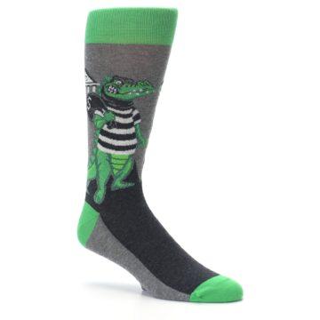 Image of Green Gray Crook-o-dile Bank Robber Men's Dress Socks (side-1-26)