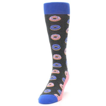 Image of Gray Blue Pink Donuts Men's Dress Socks (side-2-front-06)