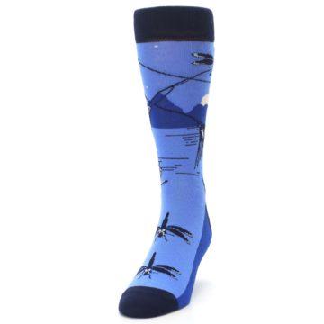 Image of Blue Navy Fly Fishing Men's Dress Socks (side-2-front-06)