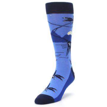 Image of Blue Navy Fly Fishing Men's Dress Socks (side-2-front-07)