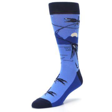 Image of Blue Navy Fly Fishing Men's Dress Socks (side-2-front-08)