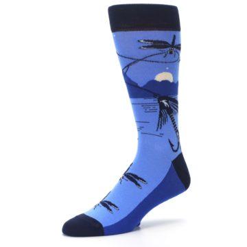 Image of Blue Navy Fly Fishing Men's Dress Socks (side-2-09)