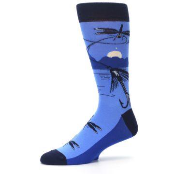 Image of Blue Navy Fly Fishing Men's Dress Socks (side-2-10)