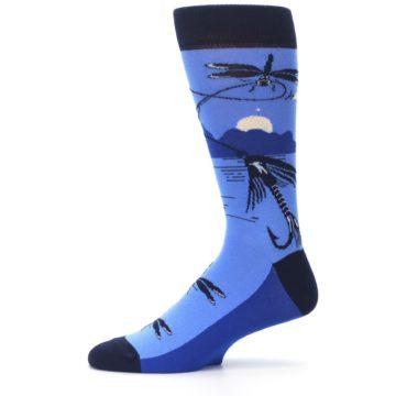 Image of Blue Navy Fly Fishing Men's Dress Socks (side-2-11)