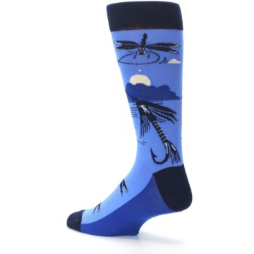 Image of Blue Navy Fly Fishing Men's Dress Socks (side-2-back-14)