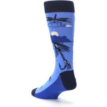 Image of Blue Navy Fly Fishing Men's Dress Socks (side-2-back-15)