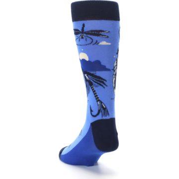 Image of Blue Navy Fly Fishing Men's Dress Socks (side-2-back-16)