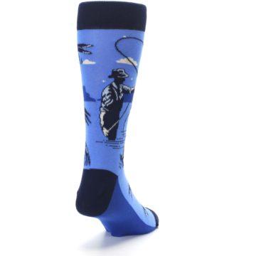 Image of Blue Navy Fly Fishing Men's Dress Socks (side-1-back-20)