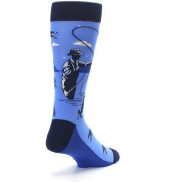 Image of Blue Navy Fly Fishing Men's Dress Socks (side-1-back-21)