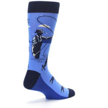 Image of Blue Navy Fly Fishing Men's Dress Socks (side-1-back-22)