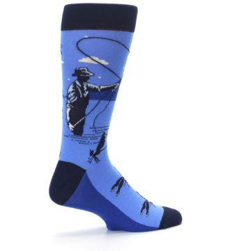 Image of Blue Navy Fly Fishing Men's Dress Socks (side-1-23)