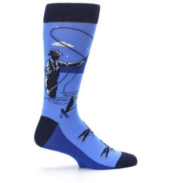 Image of Blue Navy Fly Fishing Men's Dress Socks (side-1-24)