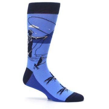 Image of Blue Navy Fly Fishing Men's Dress Socks (side-1-25)