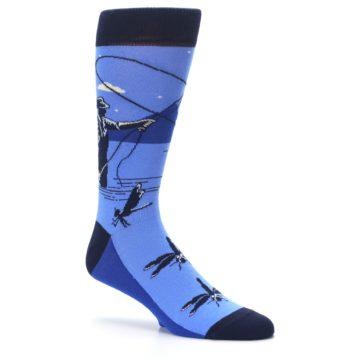 Image of Blue Navy Fly Fishing Men's Dress Socks (side-1-26)