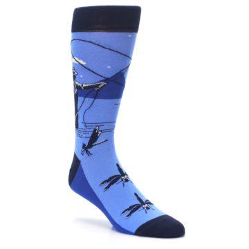 Image of Blue Navy Fly Fishing Men's Dress Socks (side-1-27)
