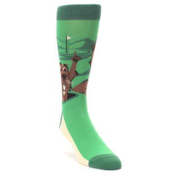 Image of Green Go-For-It Gopher Golf Men's Dress Socks (side-1-front-02)