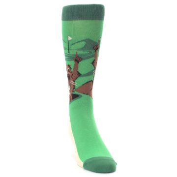Image of Green Go-For-It Gopher Golf Men's Dress Socks (side-1-front-03)