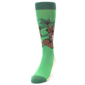 Image of Green Go-For-It Gopher Golf Men's Dress Socks (side-2-front-06)