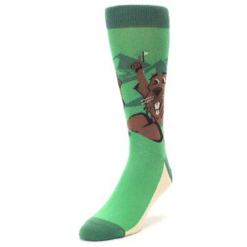 Image of Green Go-For-It Gopher Golf Men's Dress Socks (side-2-front-07)