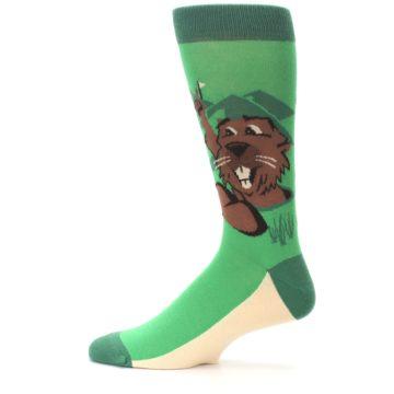 Image of Green Go-For-It Gopher Golf Men's Dress Socks (side-2-12)