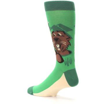 Image of Green Go-For-It Gopher Golf Men's Dress Socks (side-2-back-14)