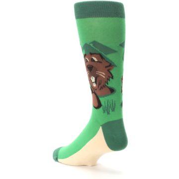 Image of Green Go-For-It Gopher Golf Men's Dress Socks (side-2-back-15)
