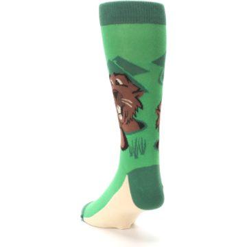 Image of Green Go-For-It Gopher Golf Men's Dress Socks (side-2-back-16)