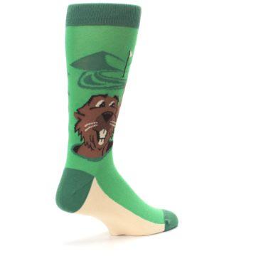 Image of Green Go-For-It Gopher Golf Men's Dress Socks (side-1-back-22)