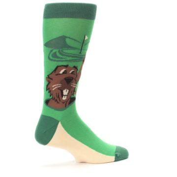Image of Green Go-For-It Gopher Golf Men's Dress Socks (side-1-23)
