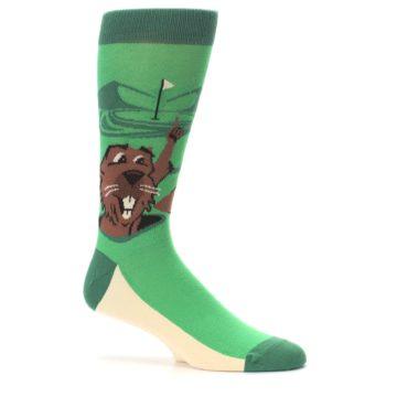Image of Green Go-For-It Gopher Golf Men's Dress Socks (side-1-25)
