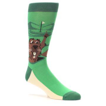 Image of Green Go-For-It Gopher Golf Men's Dress Socks (side-1-26)