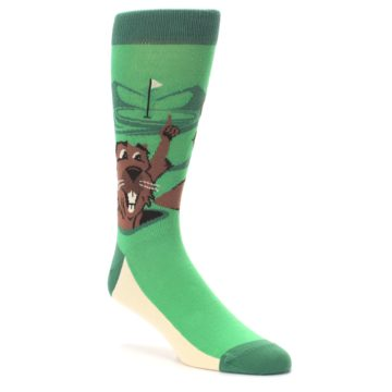 Image of Green Go-For-It Gopher Golf Men's Dress Socks (side-1-27)