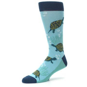 Image of Aqua Navy Turtles Men's Dress Socks (side-2-09)