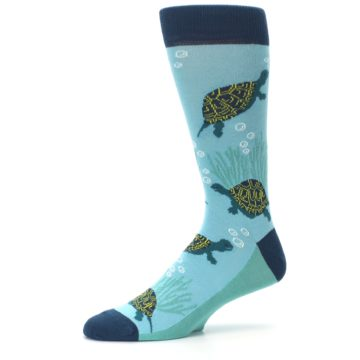 Image of Aqua Navy Turtles Men's Dress Socks (side-2-10)