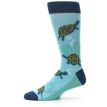 Image of Aqua Navy Turtles Men's Dress Socks (side-2-11)