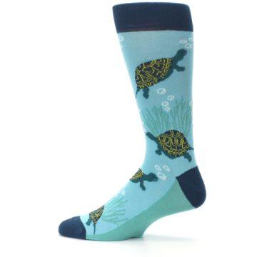 Image of Aqua Navy Turtles Men's Dress Socks (side-2-12)