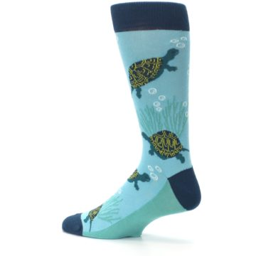 Image of Aqua Navy Turtles Men's Dress Socks (side-2-13)