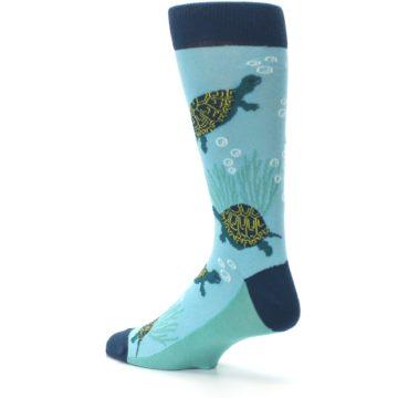 Image of Aqua Navy Turtles Men's Dress Socks (side-2-back-14)
