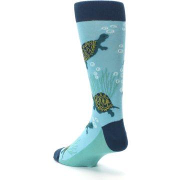 Image of Aqua Navy Turtles Men's Dress Socks (side-2-back-15)
