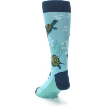 Image of Aqua Navy Turtles Men's Dress Socks (side-2-back-16)