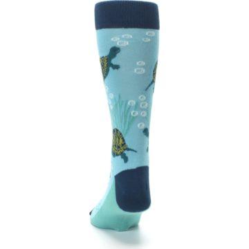 Image of Aqua Navy Turtles Men's Dress Socks (back-17)
