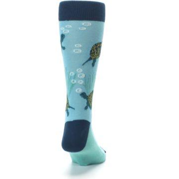 Image of Aqua Navy Turtles Men's Dress Socks (back-19)