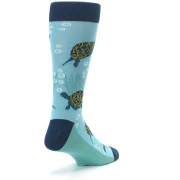 Image of Aqua Navy Turtles Men's Dress Socks (side-1-back-21)